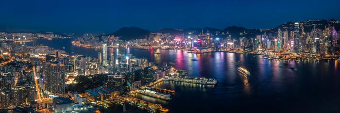Hong Kong Skyline seen from the Sky100 Observation Deck